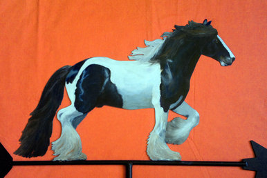 horse weather vane hand painted custom weathervane of a Gypsy Cob stallion horse